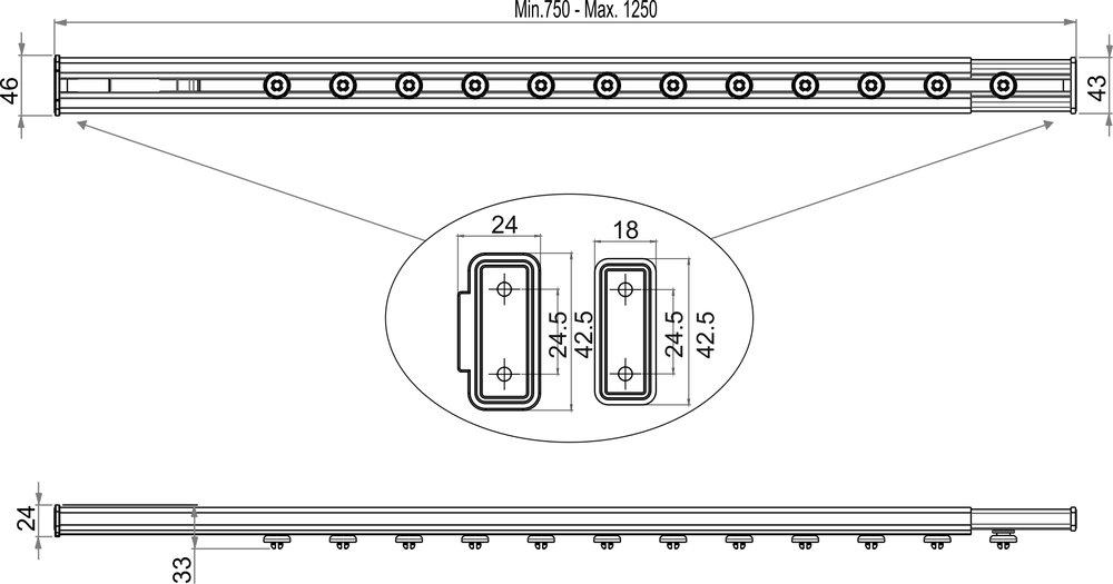 rail pour rideau de douche fixation sans outis blanc 75 125. Black Bedroom Furniture Sets. Home Design Ideas